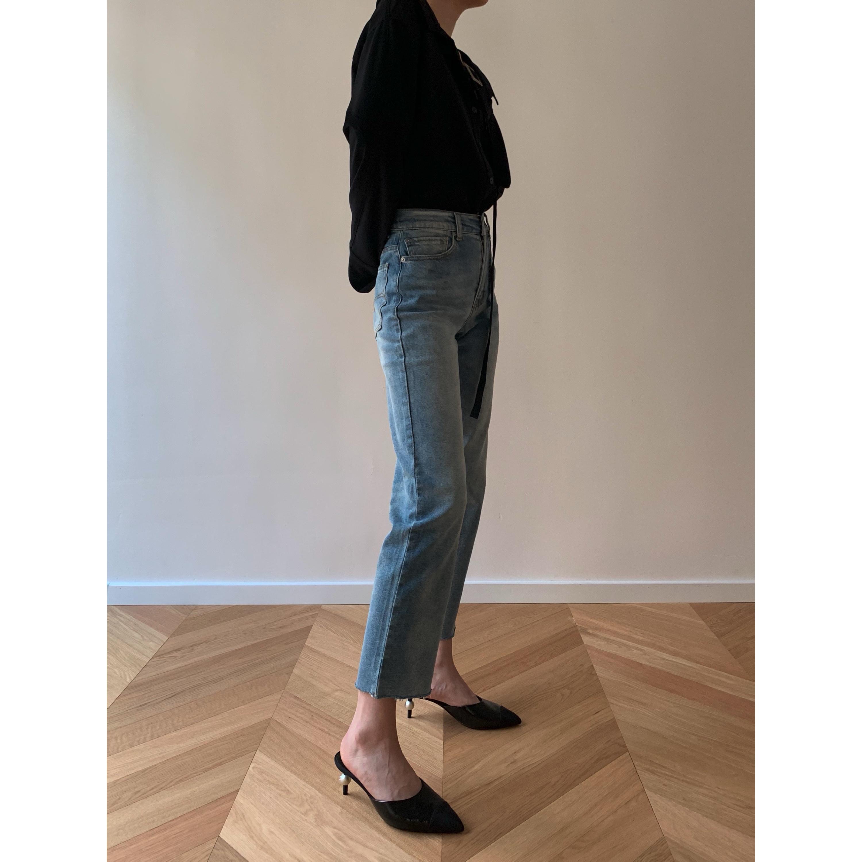 直筒牛仔裤 Neutral generation小众设计法式夏季高腰九分裤毛边直筒女牛仔裤_推荐淘宝好看的女直筒牛仔裤