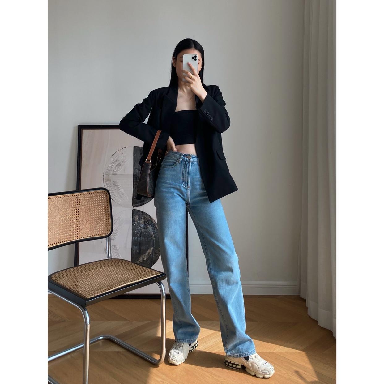 直筒牛仔裤 Neutral generation小众设计高腰宽松直筒阔腿显瘦垂坠感女牛仔裤_推荐淘宝好看的女直筒牛仔裤