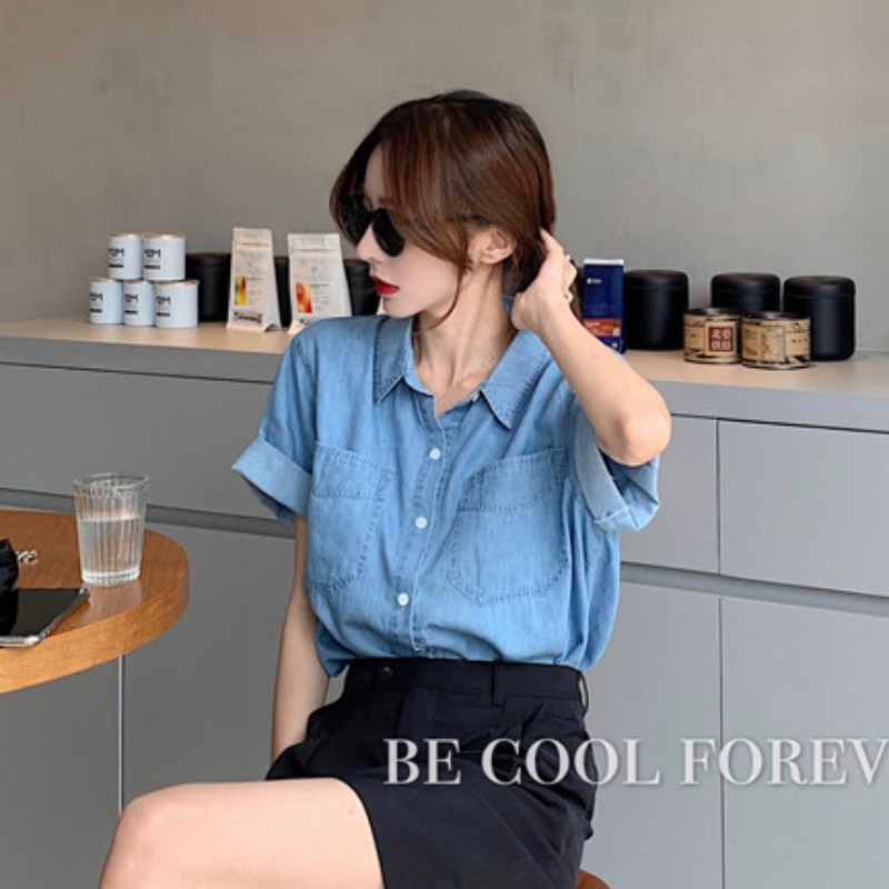 短袖牛仔衬衫 2020夏季新款韩版网红宽松中长款薄款牛仔衬衫POLO领短袖衬衣女_推荐淘宝好看的女短袖牛仔衬衫