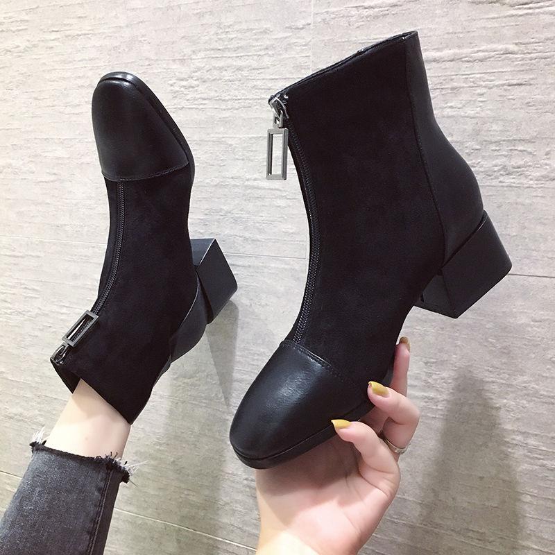 英伦短靴 短靴女方跟2019秋冬季新款英伦风复古方头前拉链马丁靴粗跟女靴子_推荐淘宝好看的女英伦短靴