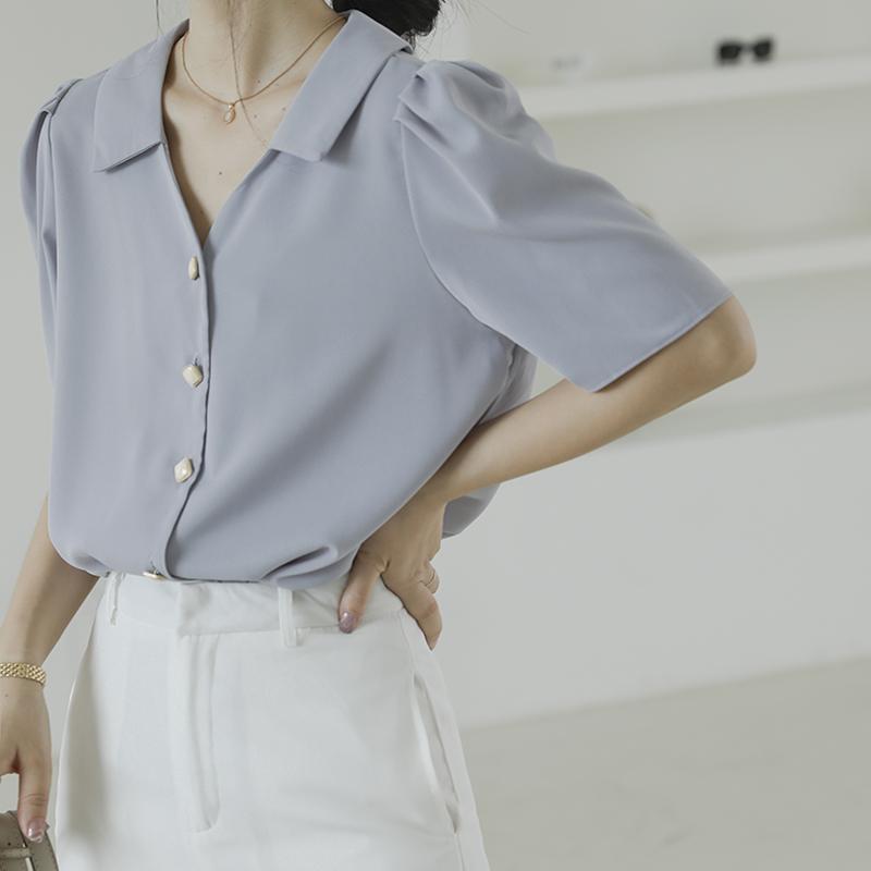 泡泡袖雪纺衫 2021年新款法式雪纺白衬衫女夏短袖设计感小众气质v领泡泡袖上衣_推荐淘宝好看的泡泡袖雪纺衫