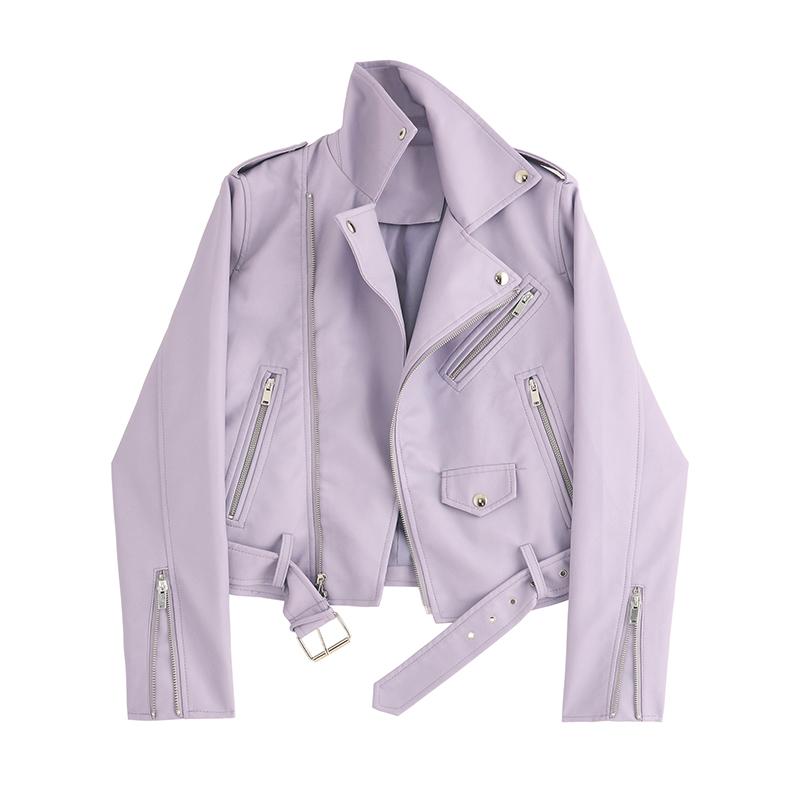 紫色皮衣 韩版小个子皮衣小外套女短款2021春秋新款拉链饰紫色机车服夹克潮_推荐淘宝好看的紫色皮衣