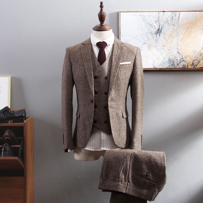 男士西装 西服套装男商务正装三件套修身职业韩版英伦风小西装新郎结婚礼服_推荐淘宝好看的男西装