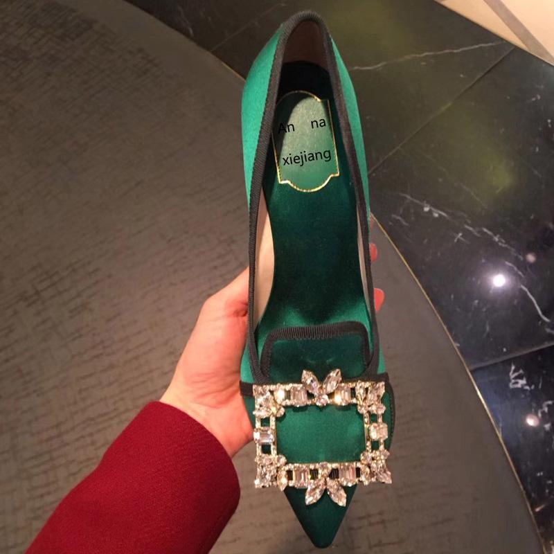 绿色高跟鞋 唐嫣同款2020秋冬水钻方扣缎面绿色单鞋女尖头浅口丝绒细跟高跟鞋_推荐淘宝好看的绿色高跟鞋