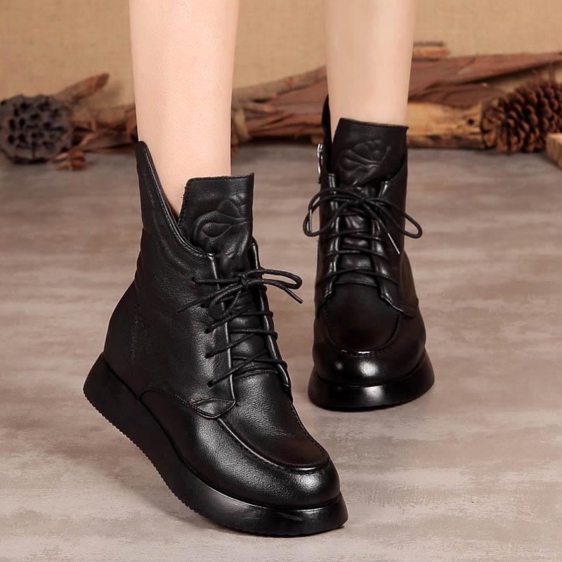 马丁短靴 高端牛皮马丁靴厚底内增高单靴软底系带短靴拉链加绒头层牛皮女靴_推荐淘宝好看的女马丁短靴