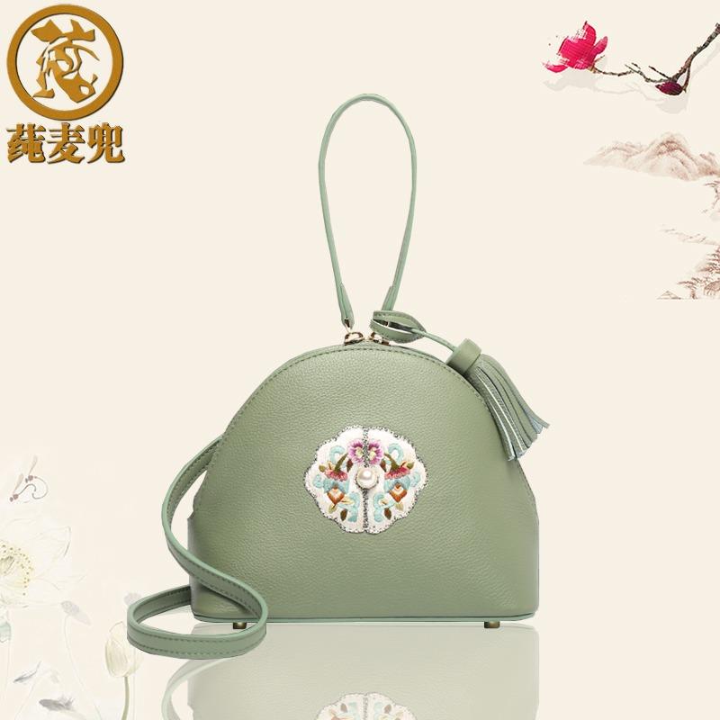 绿色手提包 2021新款迷你小包包手工刺绣真皮手提包小清新手拎包绿色个性女包_推荐淘宝好看的绿色手提包
