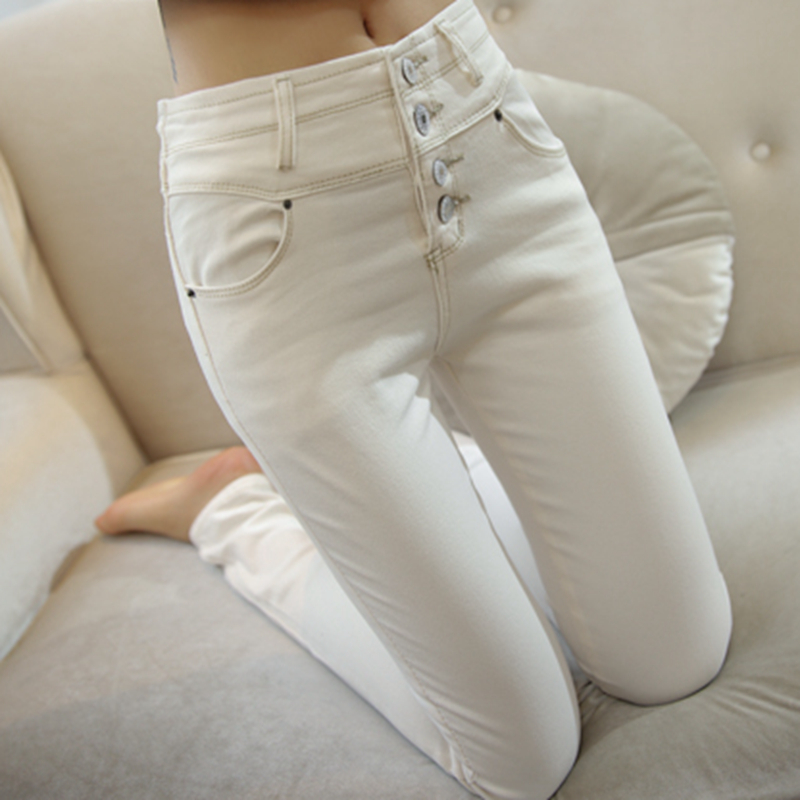 白色牛仔裤 韩国2021秋装新款高腰修身显瘦白色牛仔裤女九分紧身小脚铅笔长裤_推荐淘宝好看的白色牛仔裤