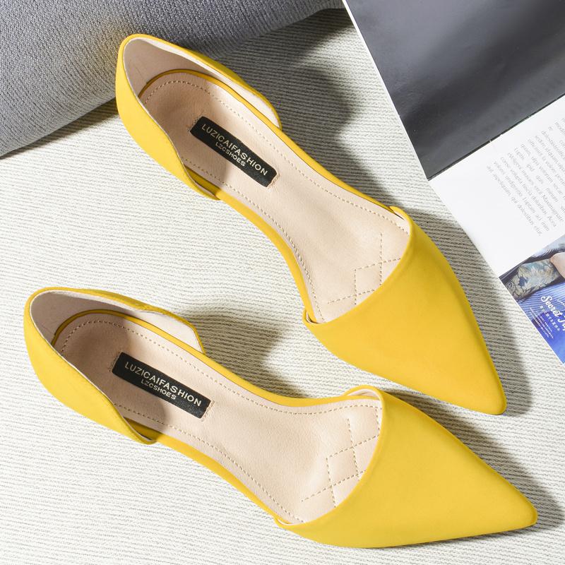 黄色高跟鞋 2021新款猫跟3cm黄色小跟凉鞋中空尖头高跟鞋百搭细跟低跟单鞋女_推荐淘宝好看的黄色高跟鞋