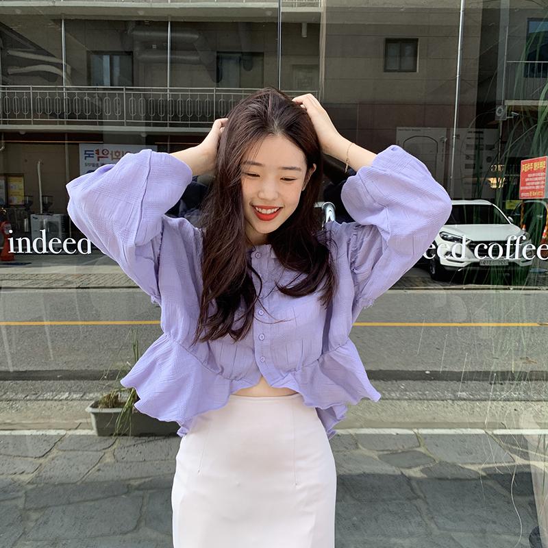 紫色衬衫 韩国chic早秋优雅气质衬衣显白百搭灯笼袖长袖衬衫女紫色短款上衣_推荐淘宝好看的紫色衬衫