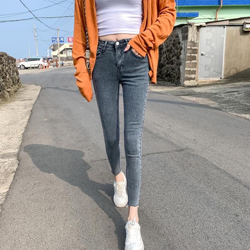 弹力紧身牛仔裤 2021年矮小个子春夏蓝灰色九分牛仔小脚裤女弹力155cm紧身八分裤_推荐淘宝好看的女弹力紧身牛仔裤