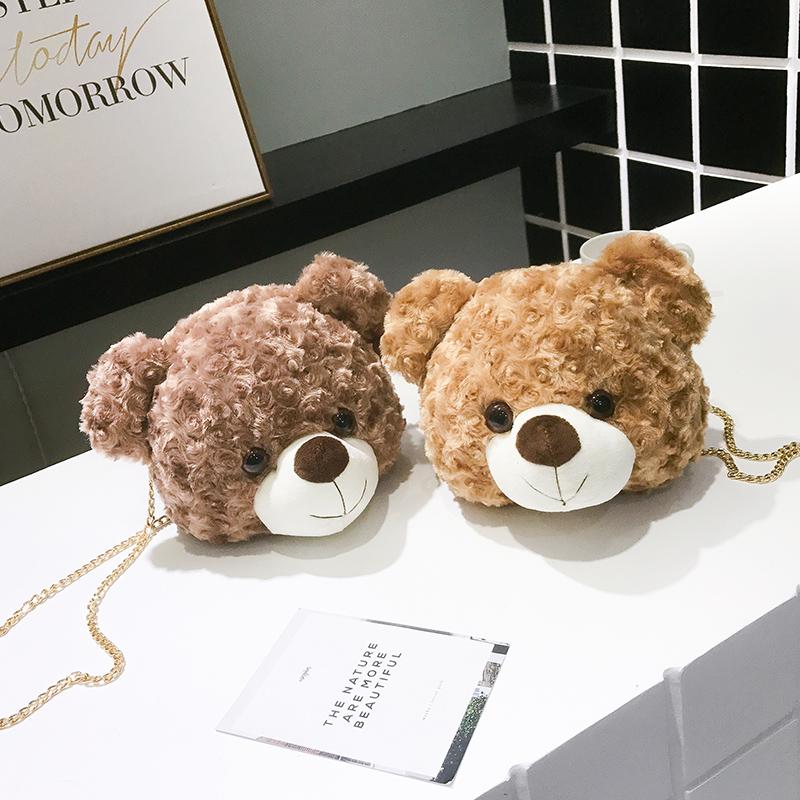 卡通斜挎包 泰迪小熊冬季包包女2020新款韩版时尚卡通可爱百搭斜挎毛绒小包包_推荐淘宝好看的女卡通斜挎包