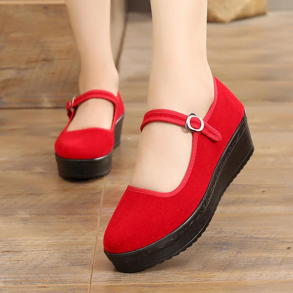 红色松糕鞋 红色老北京布鞋松糕底舞蹈高跟鞋民族风大红色加厚底广场舞软底鞋_推荐淘宝好看的红色松糕鞋