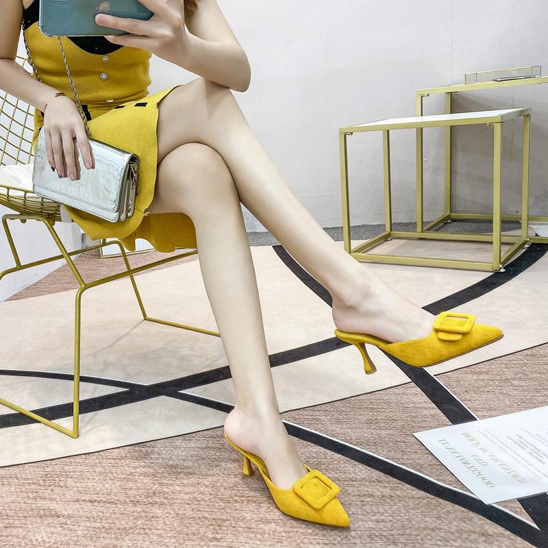 黄色高跟鞋 黄色高跟鞋女2021年新款春细跟包头半拖鞋尖头外穿时尚设计感小众_推荐淘宝好看的黄色高跟鞋
