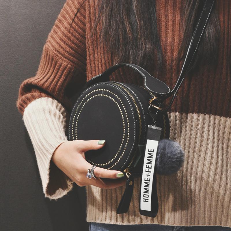 黑色手提包 法国小众包包女包秋冬新款2019网红时尚百搭单肩斜挎包手提小圆包_推荐淘宝好看的黑色手提包