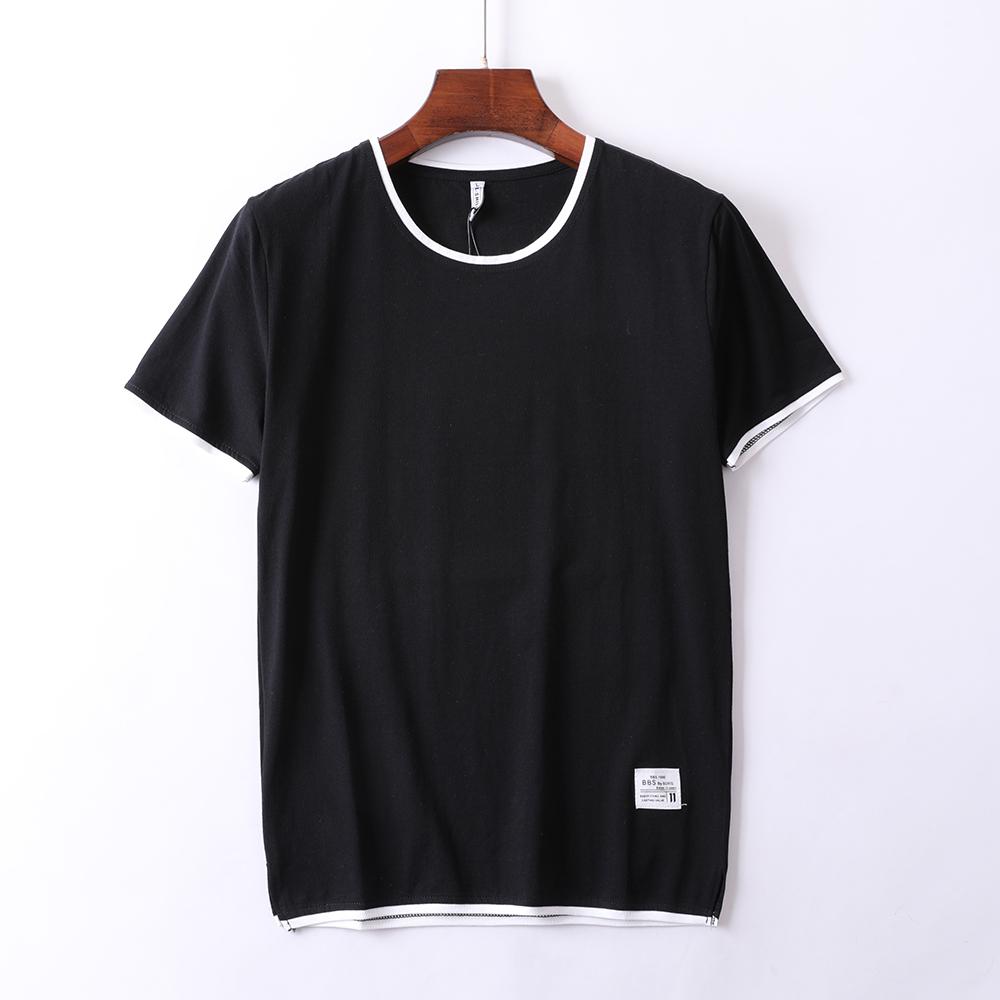 男士韩版T恤 2020夏季新款男士短袖T恤圆领韩版潮流纯色简约弹力青年上衣L18_推荐淘宝好看的男士韩版T恤