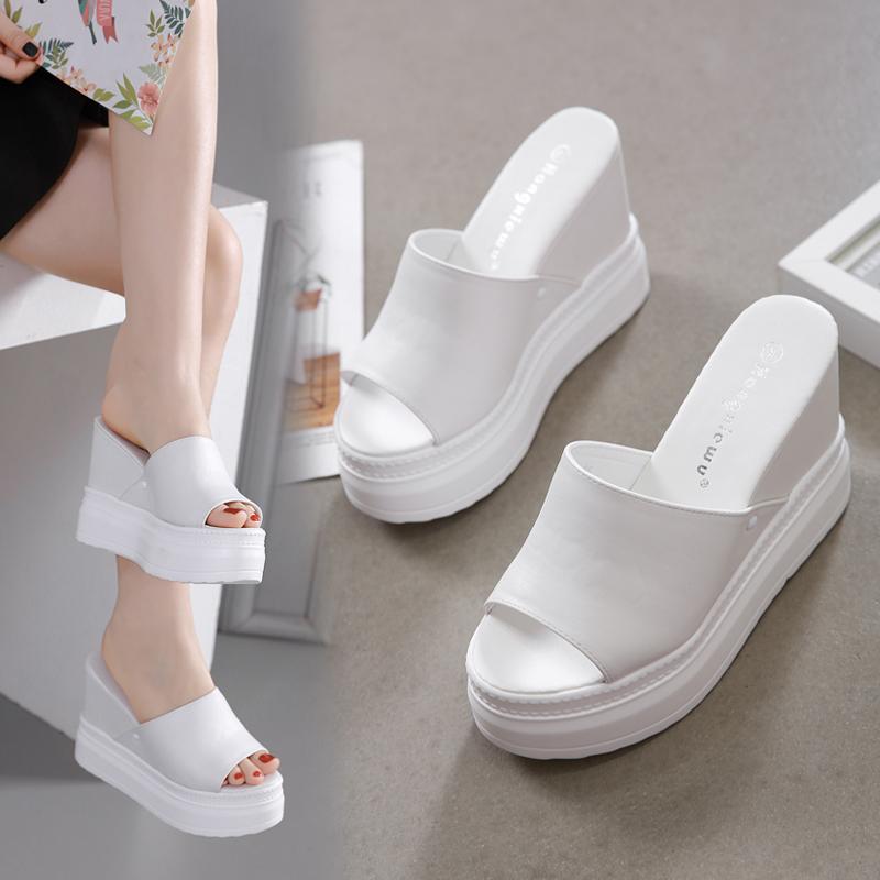 白色松糕鞋 内增高松糕鱼嘴凉鞋10CM坡跟厚底防水台白色2021夏季新款高跟女拖_推荐淘宝好看的白色松糕鞋
