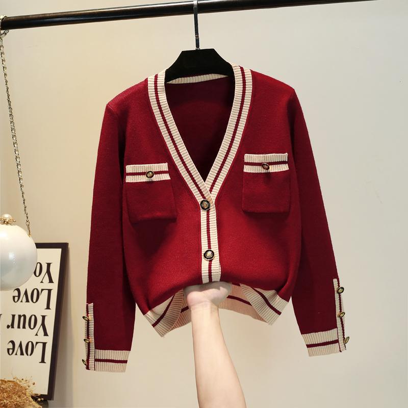 红色针织衫 网红毛衣女红色 2021春秋新款韩版洋气加厚针织开衫小香V领外套风_推荐淘宝好看的红色针织衫