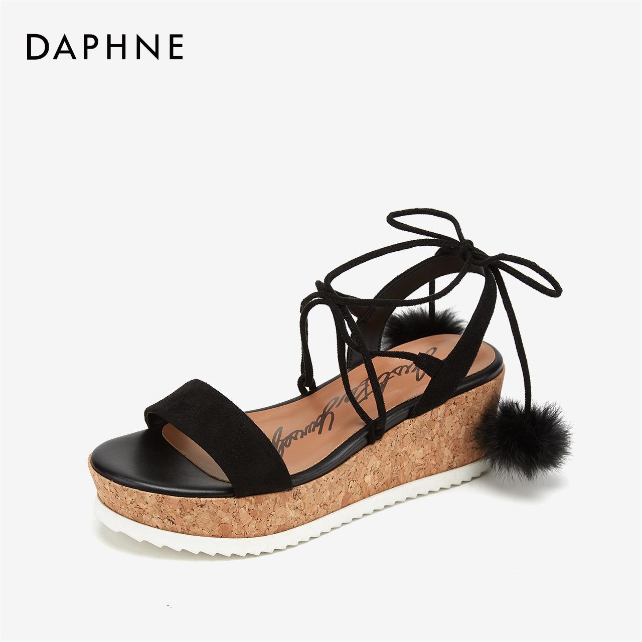 达芙妮坡跟鞋 达芙妮女鞋夏凉鞋坡跟女特价特价正品凉鞋休闲一字带纯色高跟鞋_推荐淘宝好看的达芙妮坡跟鞋