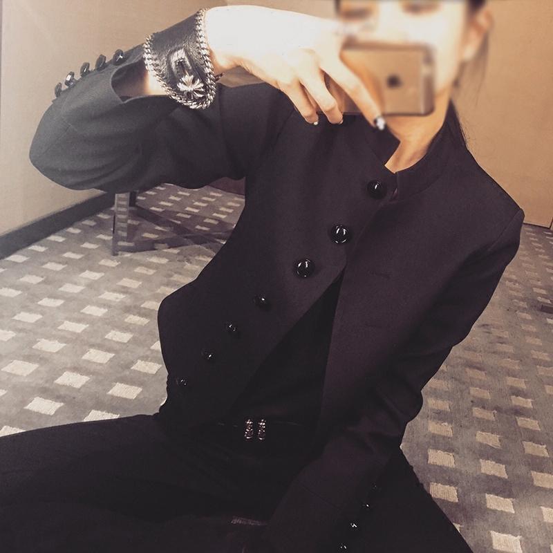 黑色小西装 黑色立领中山装女 春秋新款高腰修身气质休闲百搭短款小西装外套_推荐淘宝好看的黑色小西装