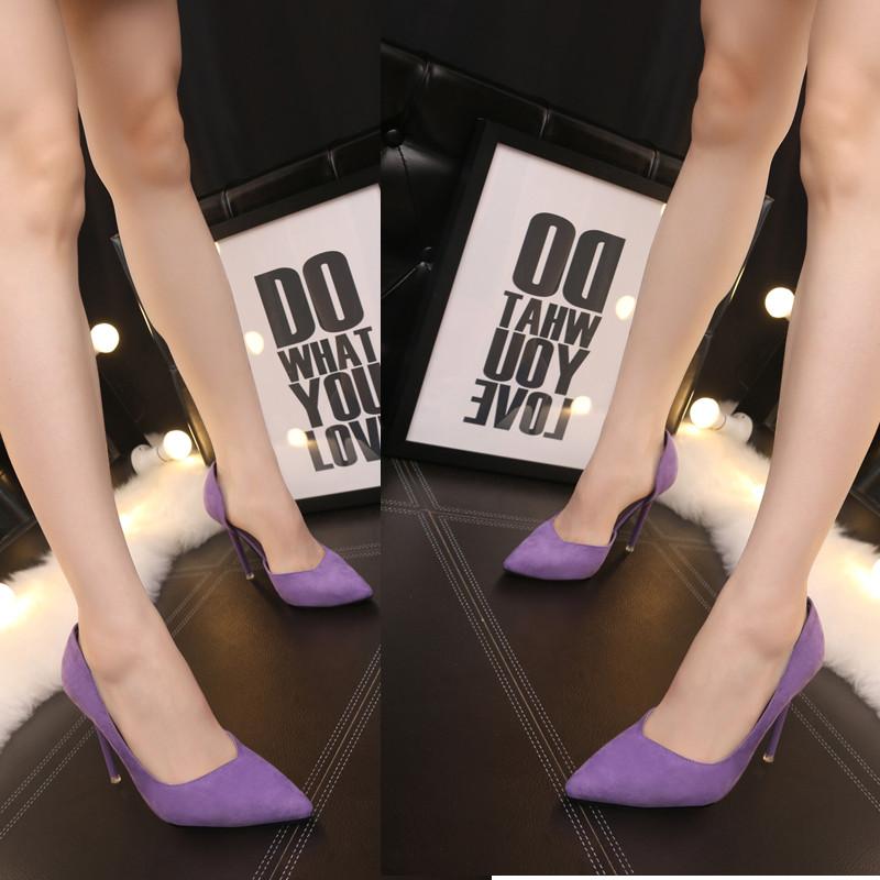紫色尖头鞋 韩国流行春夏高跟鞋侧镂空新款尖头细跟女单鞋紫色浅口低帮工作鞋_推荐淘宝好看的紫色尖头鞋