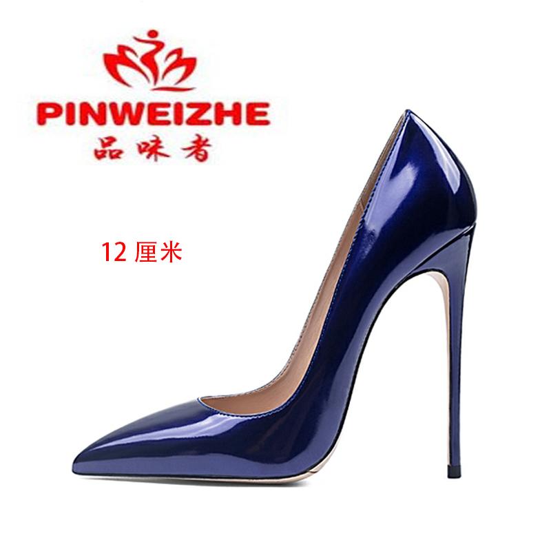 高跟鞋 欧美秋季网红款尖头细高跟10CM黑色牛漆皮大码12cm浅口工作女单鞋_推荐淘宝好看的女高跟鞋