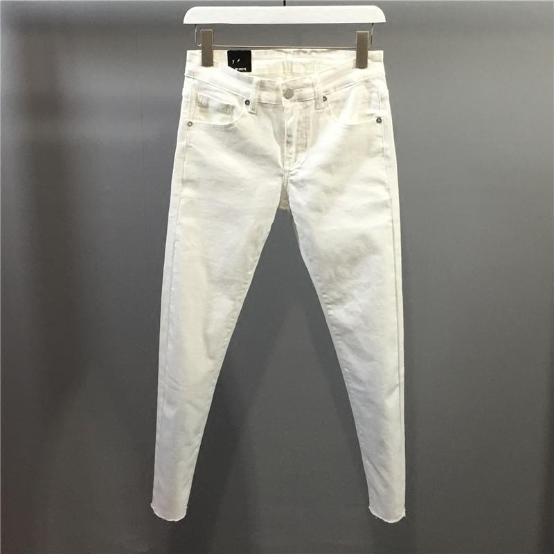 白色牛仔裤 2021夏季新款浅色毛边牛仔裤男士修身弹力小脚裤白色九分裤韩版潮_推荐淘宝好看的白色牛仔裤