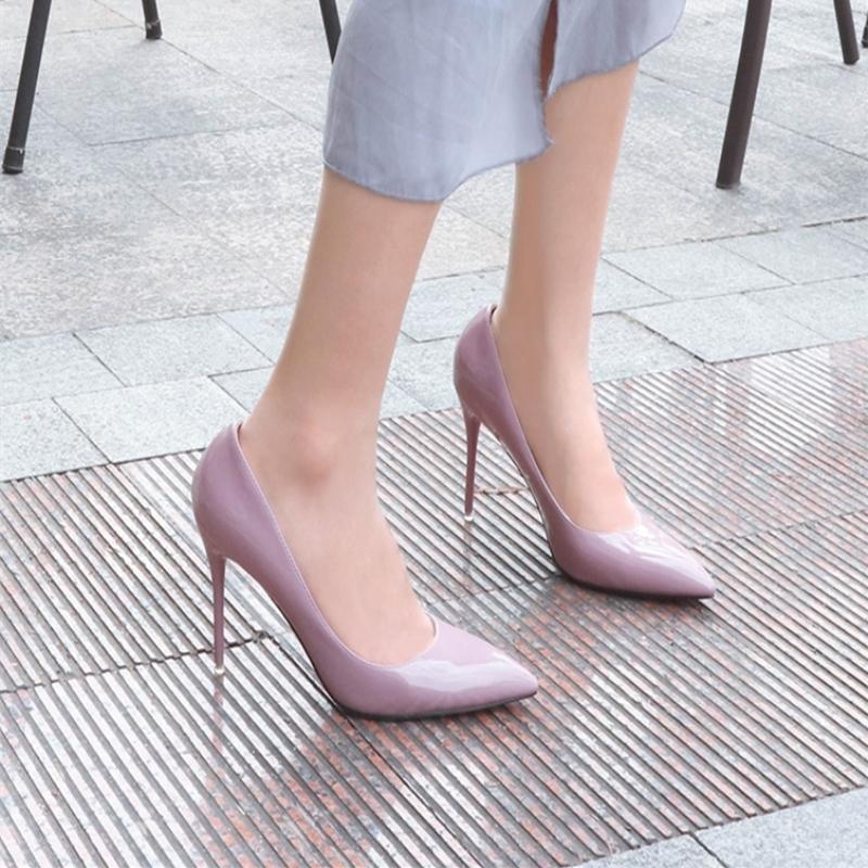 细高跟单鞋 欧美春鞋12cm裸色尖头高跟鞋女细跟中跟浅口百搭女单鞋婚鞋工作鞋_推荐淘宝好看的女细高跟单鞋