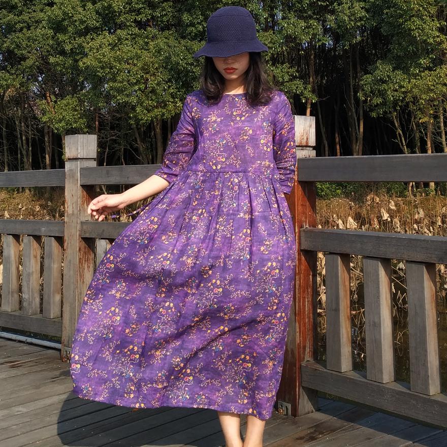 紫色连衣裙 苎麻连衣裙紫色印花森系中长裙宽松系带中袖民族风棉麻中国风裙子_推荐淘宝好看的紫色连衣裙