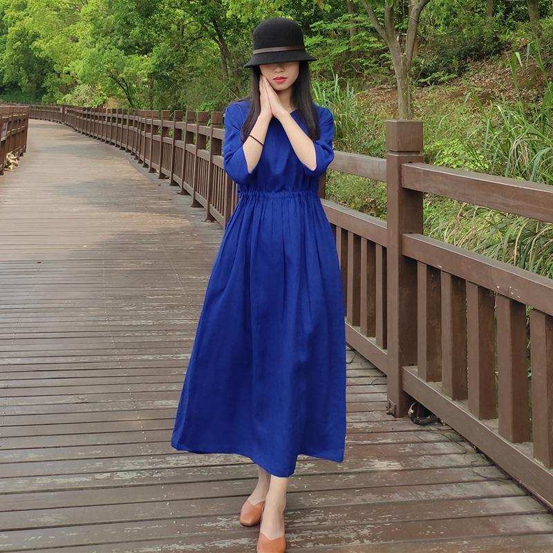 长袖连衣裙 蓝莓 有柳2021新款七分袖亚麻连衣裙 褶皱长袖收腰中长裙宽松袍子_推荐淘宝好看的长袖连衣裙