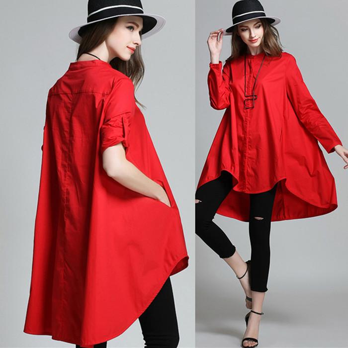 红色衬衫 现货包邮 2021春秋新款红色韩版长袖上衣大码女装宽松立领衬衫女_推荐淘宝好看的红色衬衫