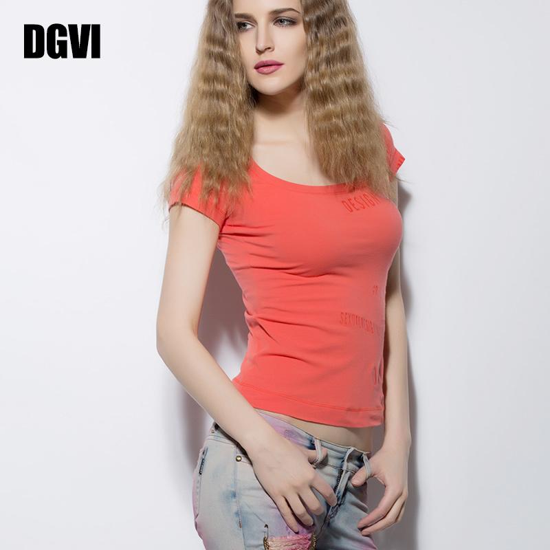 新款纯棉t恤 DGVI纯棉短袖T恤女上衣2021新款夏装纯色潮流百搭显瘦时尚打底衫_推荐淘宝好看的女新款纯棉t恤
