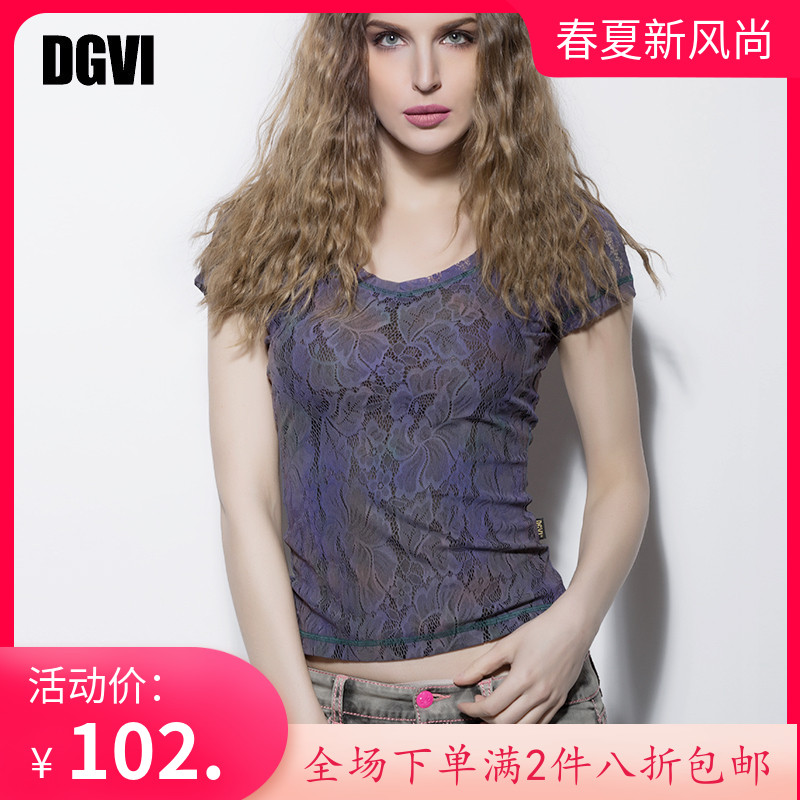 女款短袖衬衫 DGVI紫色蕾丝T恤衫女2021夏季新款时尚欧美风薄款透气短袖上衣_推荐淘宝好看的女短袖衬衫