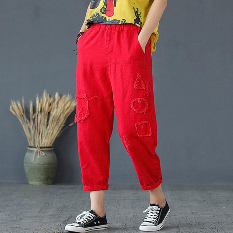 红色牛仔裤 女士大码红色九分牛仔裤女宽松8分哈伦裤破洞贴布拼接裤子秋季潮_推荐淘宝好看的红色牛仔裤