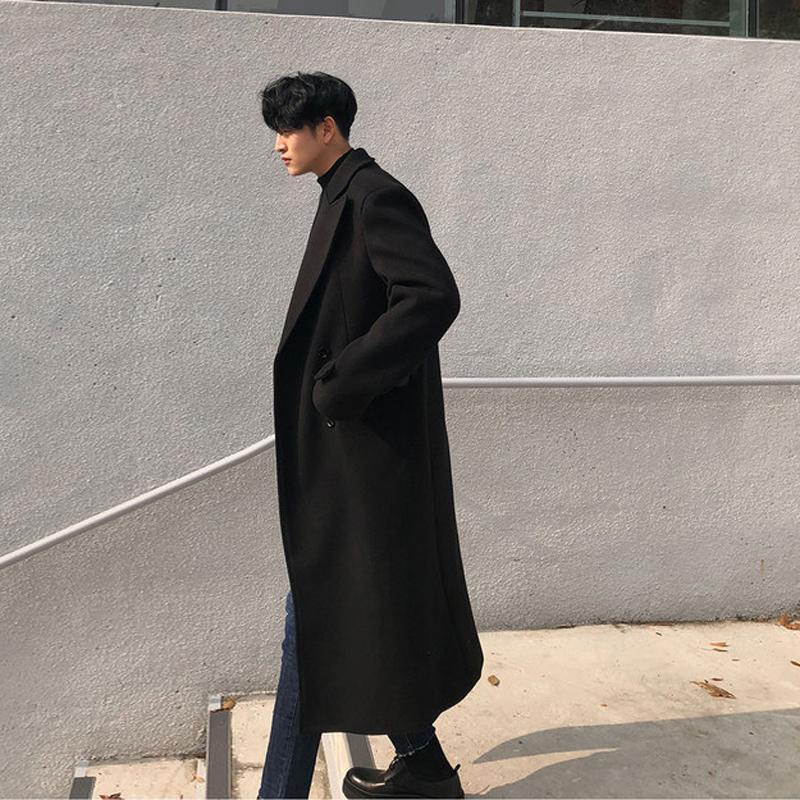 韩版男士小西装 秋冬男士潮流呢大衣韩版长款过膝毛呢外套时尚英伦风青年呢子大衣_推荐淘宝好看的韩版男士西装