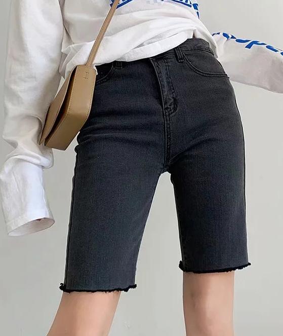 修身的牛仔裤 外贸女装 韩版时尚修身弹力显瘦高腰毛边五分裤牛仔短裤骑行裤女_推荐淘宝好看的女修身牛仔裤