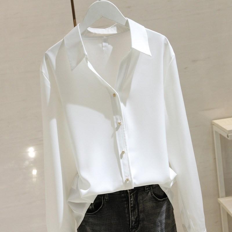 雪纺长袖衬衫 香港白色缎面衬衫女长袖2021夏季宽松显瘦设计感V领垂感雪纺衬衣_推荐淘宝好看的女雪纺长袖衬衫