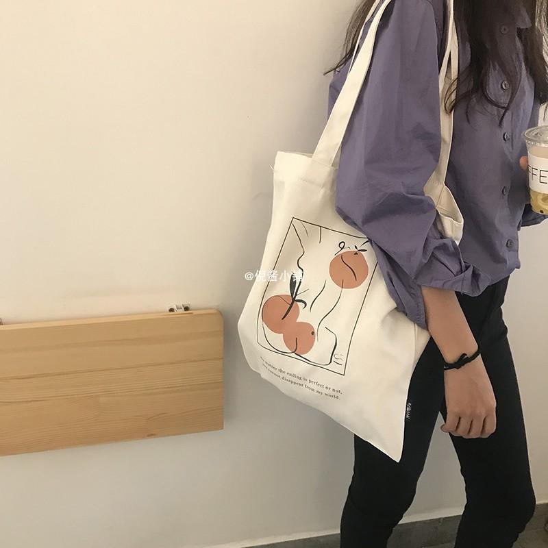 白色帆布包 白色韩版原宿ulzzang日系大容量ins学生单肩包包手提布袋帆布包女_推荐淘宝好看的白色帆布包