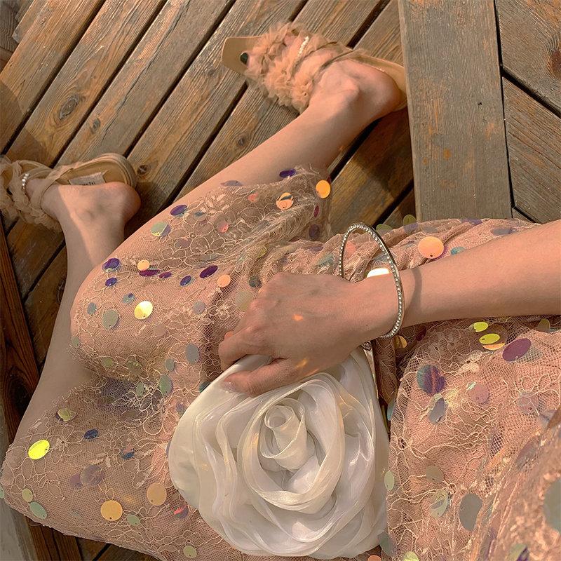 品牌蕾丝连衣裙 叶子昕  人鱼姬  小众温柔亮片蕾丝吊带连衣裙 包邮送礼物_推荐淘宝好看的蕾丝连衣裙