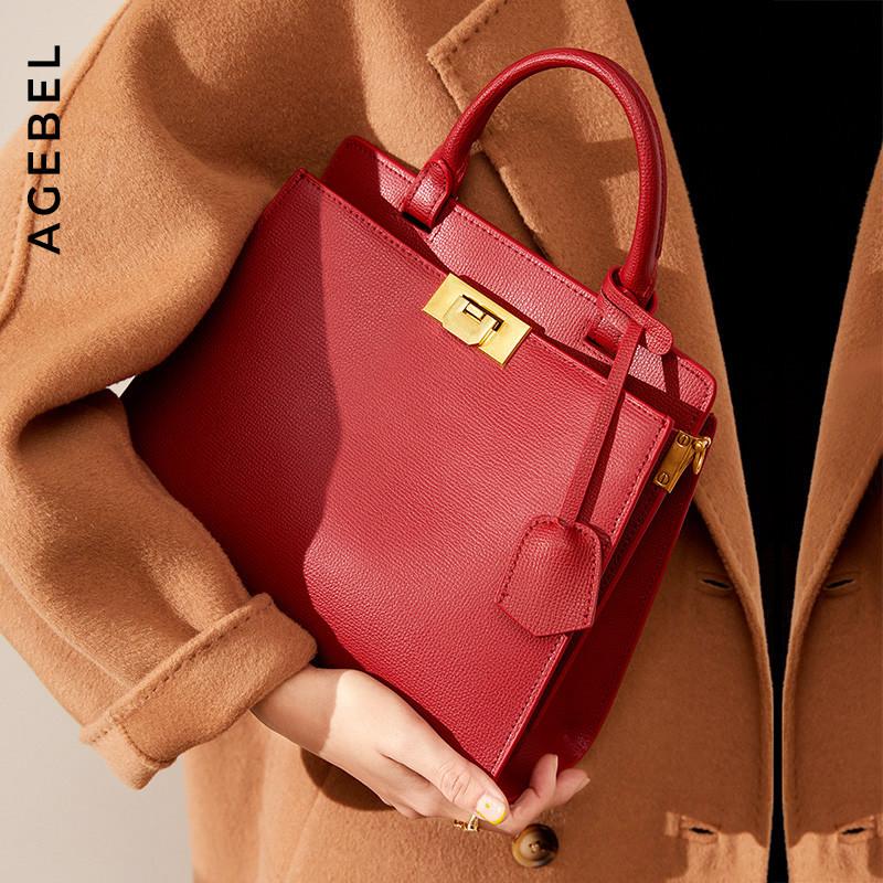 红色斜挎包 真皮凯莉包红色婚包女结婚包包新娘包大容量婚礼斜挎手提包女包_推荐淘宝好看的红色斜挎包