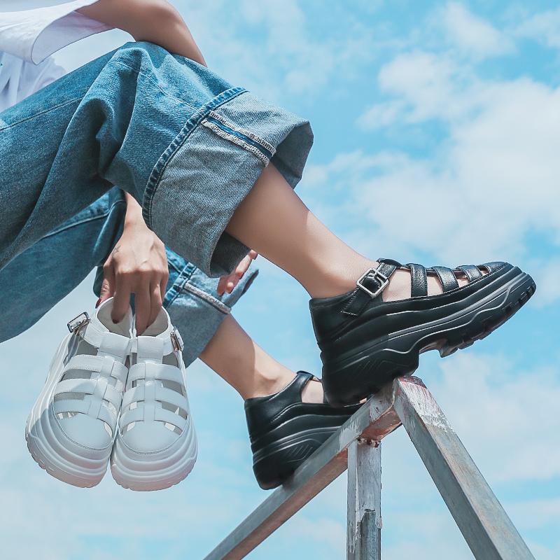 黑色罗马鞋 包头凉鞋女厚底罗马鞋子女夏季百搭2021年新款松糕鞋高跟网红黑色_推荐淘宝好看的黑色罗马鞋