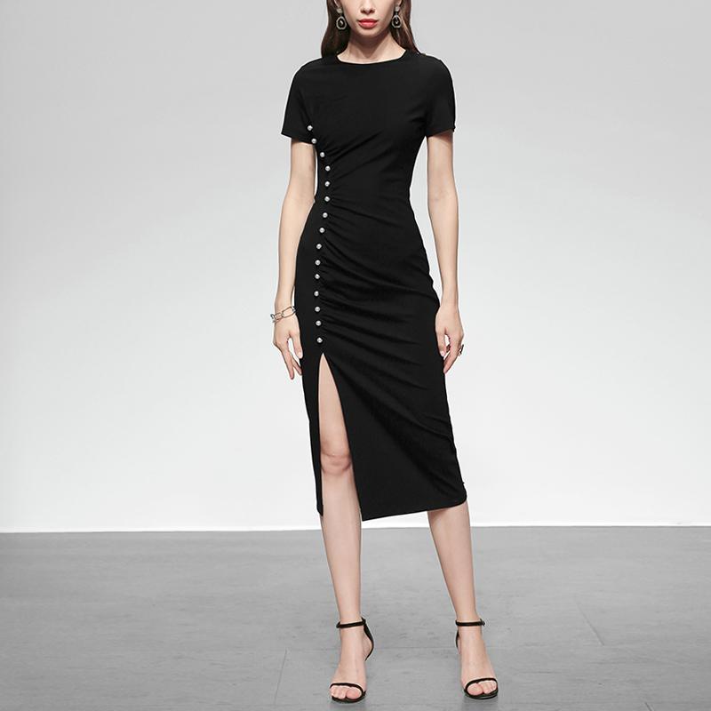 黑色连衣裙 夏季女装2021新款黑色修身长裙气质性感短袖显瘦中长款连衣裙_推荐淘宝好看的黑色连衣裙