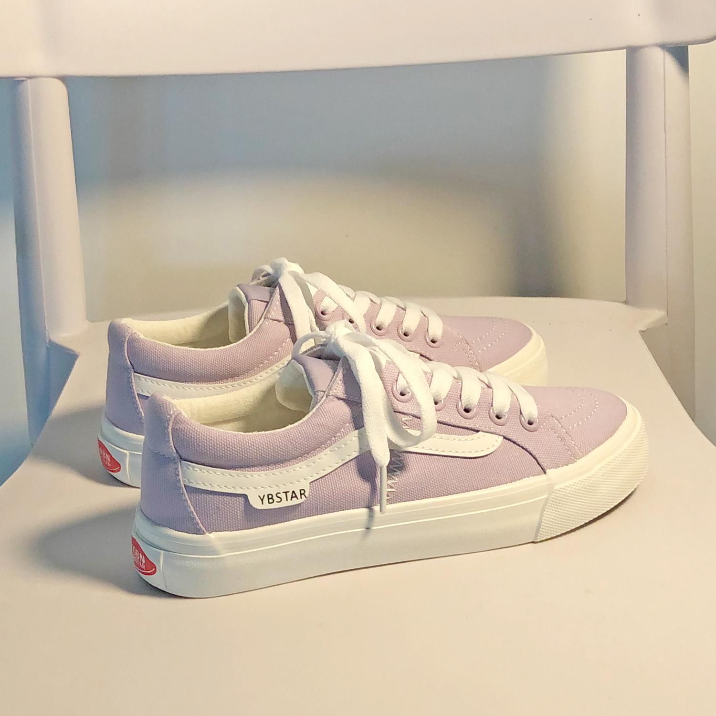 紫色平底鞋 紫色低帮帆布鞋女ulzzang百搭学生平底韩版网红超火chic板鞋ins潮_推荐淘宝好看的紫色平底鞋