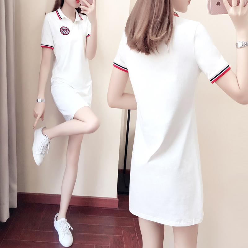 白色修身连衣裙 白色连衣裙女夏季新款女装甜美休闲显瘦polo领运动2021修身裙子_推荐淘宝好看的白色修身连衣裙