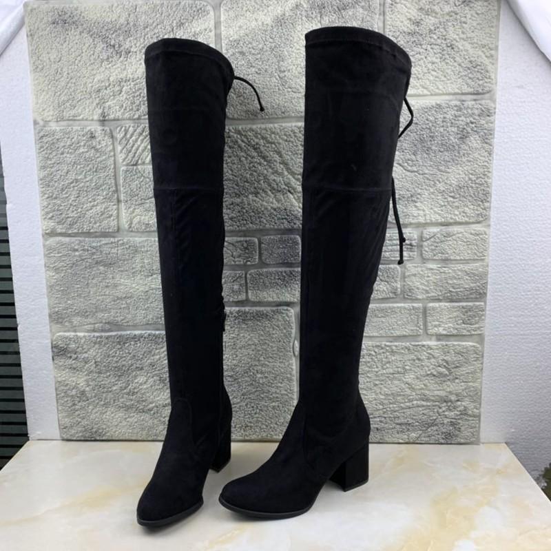 高跟鞋 外贸原单女鞋高跟长筒弹力靴后系带粗跟过膝瘦瘦靴布靴大码42_推荐淘宝好看的女高跟鞋