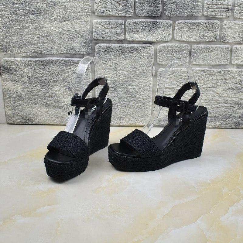 罗马坡跟鞋 外贸女鞋罗马风格原单女鞋出口高跟坡跟防水台露趾百搭纯色凉鞋_推荐淘宝好看的罗马坡跟鞋