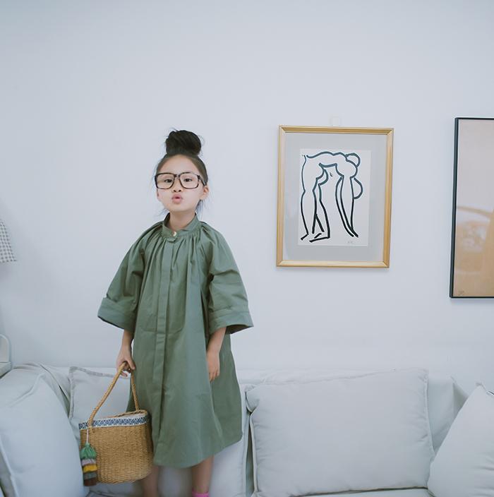 日系风衣 H AND E女童风衣森系中长款绿灰色纯棉日系儿童洋气外套秋季童装_推荐淘宝好看的女日系风衣