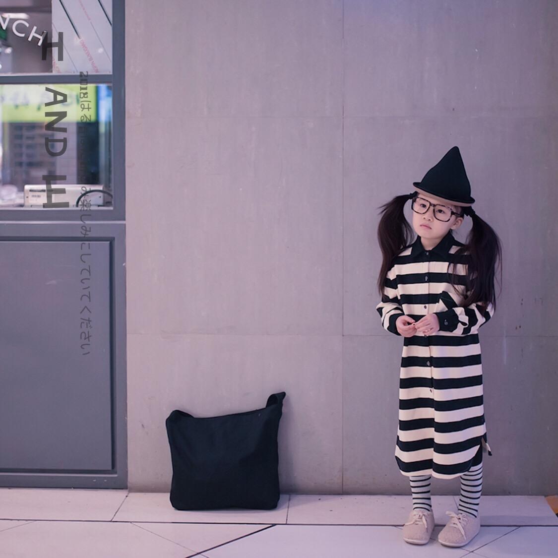 日系长衬衫 H AND E日系女童米黑条纹个性休闲纯棉中长款中大童卫衣衬衫_推荐淘宝好看的日系长衬衫