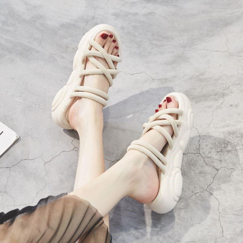 坡跟罗马鞋 两穿凉鞋女2021年夏季新款运动中跟坡跟松糕厚底罗马孕妇平底女鞋_推荐淘宝好看的坡跟罗马鞋