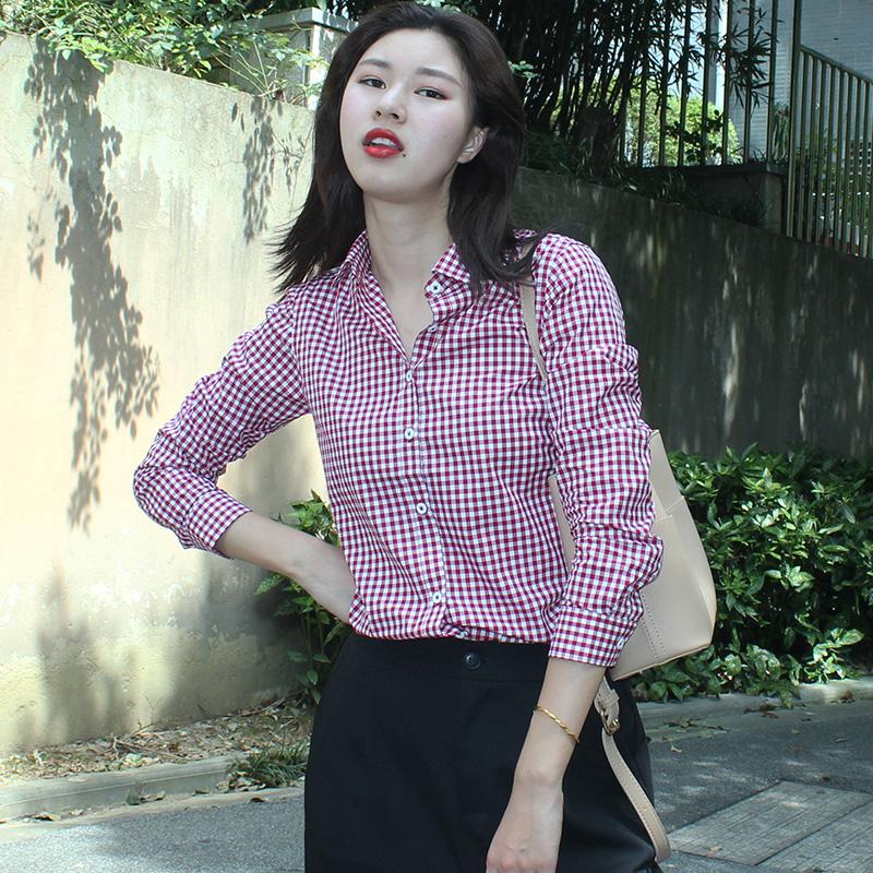 黑白格子衬衫 韩版宽松黑白小格子衬衫女长袖方格纹纯棉紫色设计感小众复古春秋_推荐淘宝好看的女黑白格子衬衫