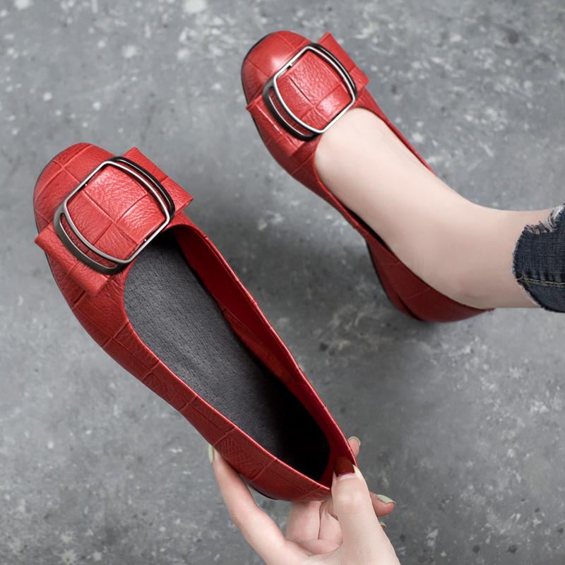 真皮平底鞋 浅口平底单鞋女2019新款夏季方头真皮中跟瓢鞋夏款粗跟小皮鞋百搭_推荐淘宝好看的女真皮平底鞋